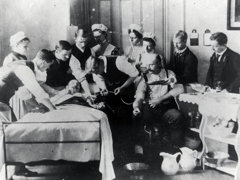 Blood Donation at Bellevue Hospital Center circa 1876