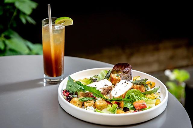 The simplicity of roasted chicken at its best. Here, with peach panzanella, cherries, almonds and bleu cheese.