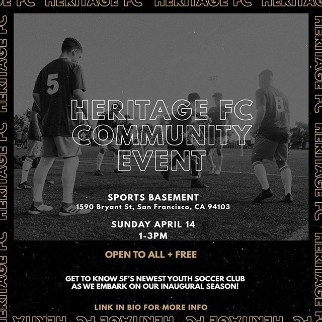 San Francisco, join us this Sunday for our Heritage FC Community Launch! Check out the event details in our bio.