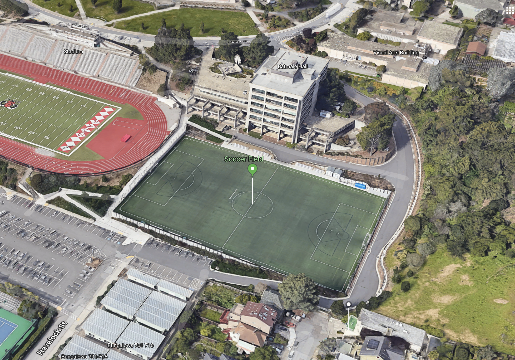Aerial view of Soccer Field at CCSF via Google Maps.