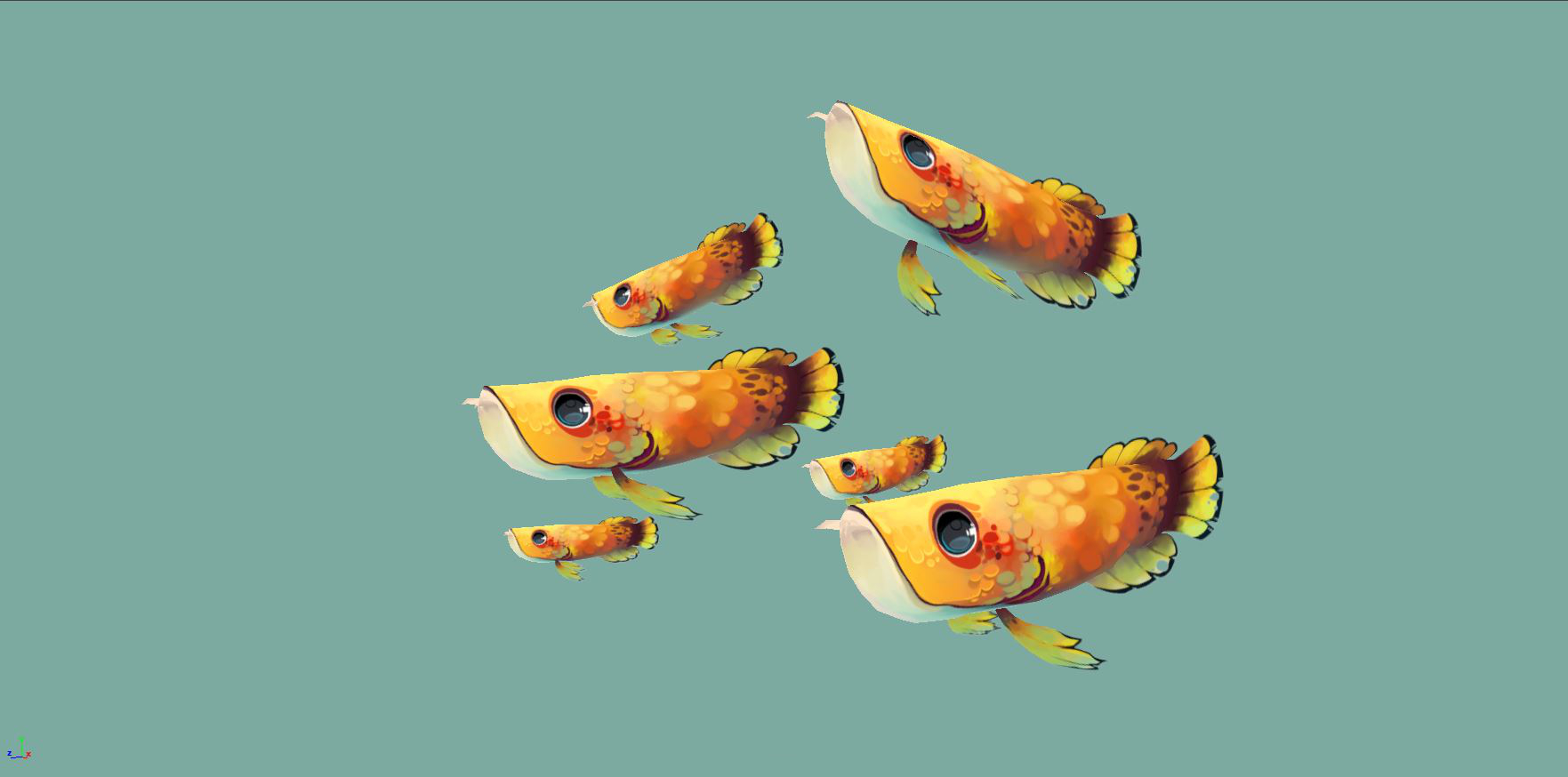 Inspired by arowana fish, these little guys were made in 3 days, have 712 tris, 512x512 px diffuse texture, and hair card fins.