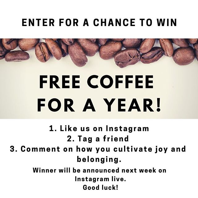 Yes, it's true! We are giving one lucky person coffee for a year!  All you have to do is:  1. Like us on Instagram  2. Tag a friend 3. Comment how you cultivate joy and belonging.  The winner will be announced live next Monday at 8pm central time.  Deadline to enter is this Sunday July 14th.  Best of luck! #coffee #contest #desmoines #caffeine #coffeeroaster #smallbusiness #blackownedbusiness #joy #belonging