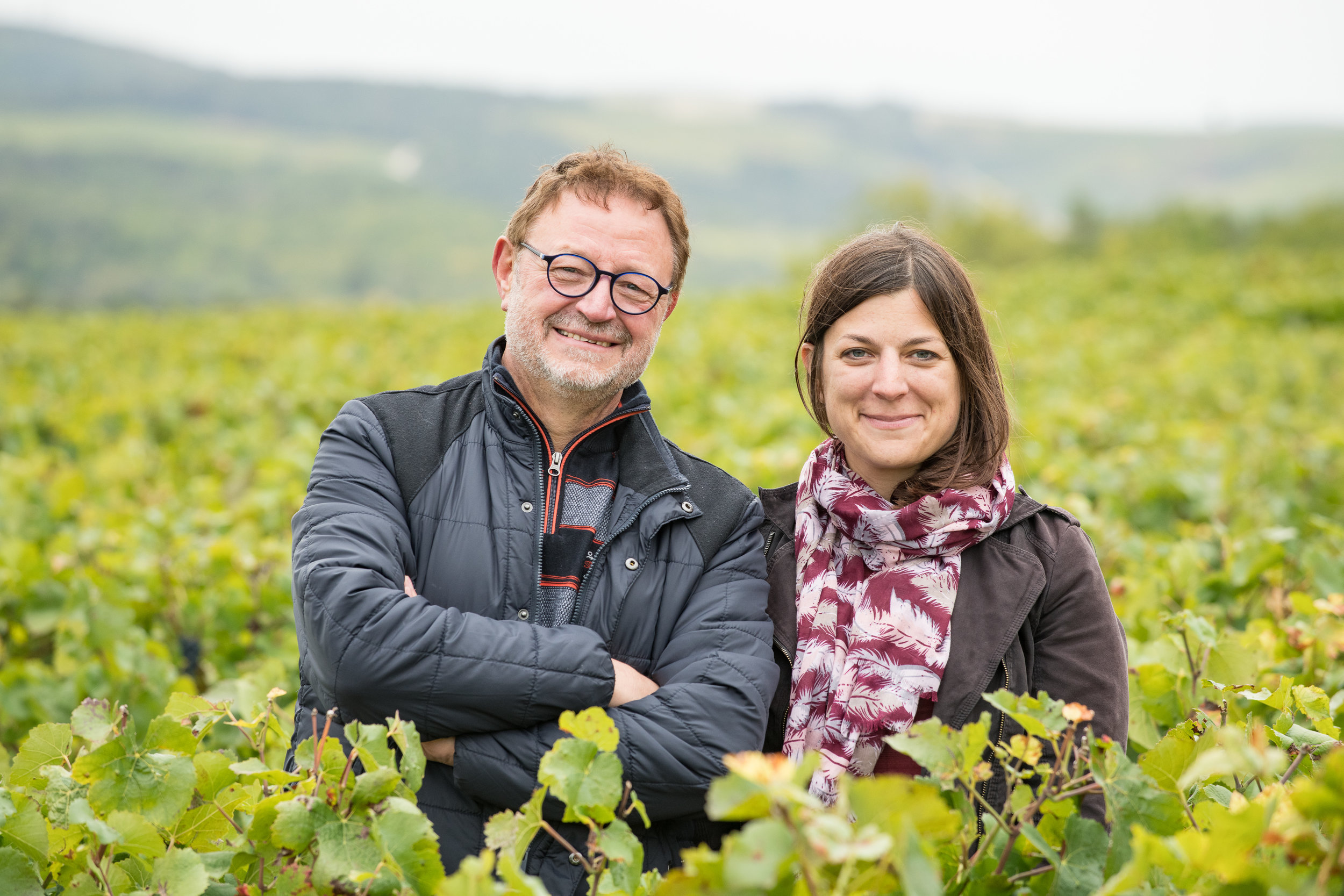 Father and daughter (Pascal and Emilie Morel) in the vineyard.