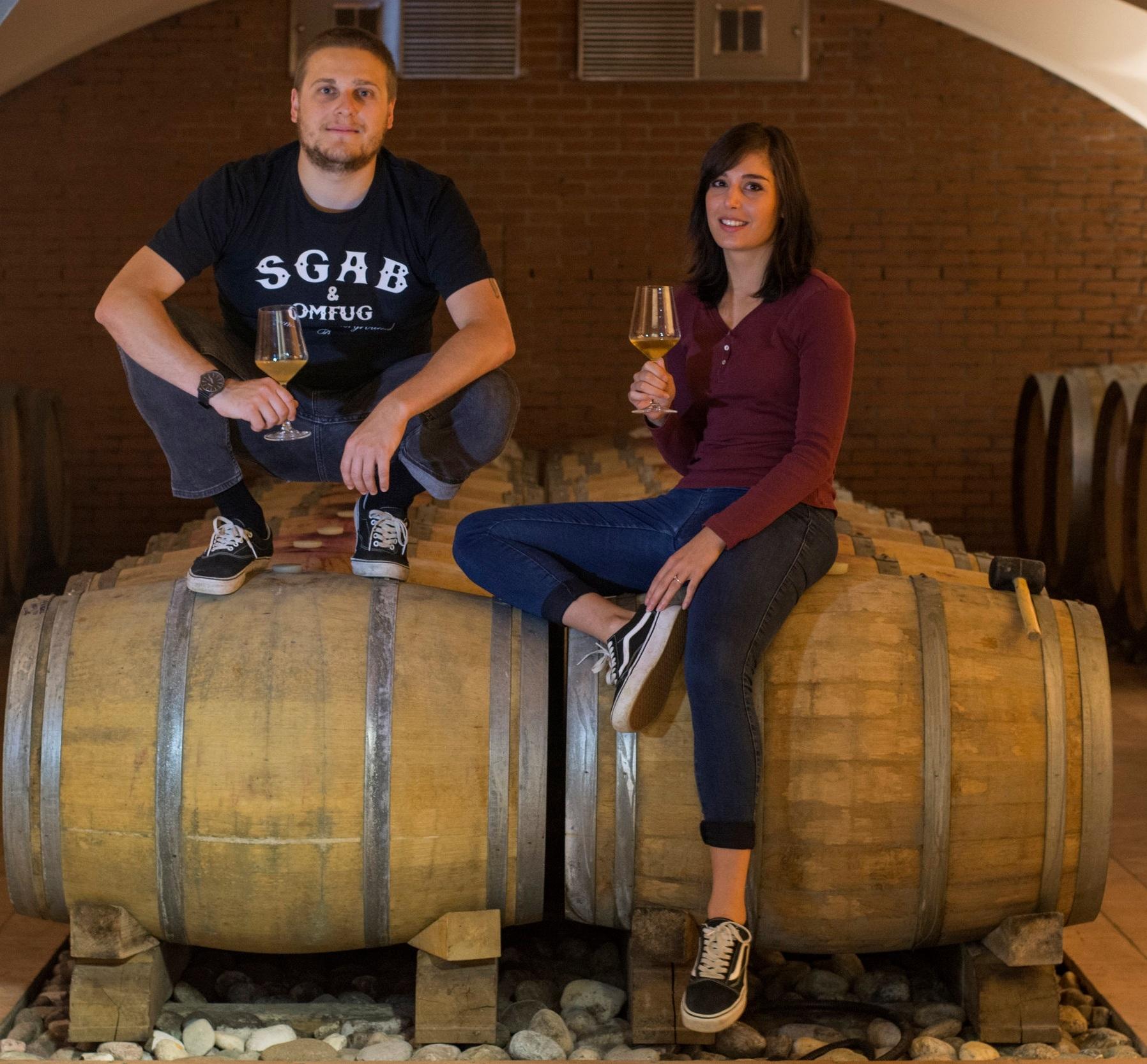 Nicola Brunetti and Giulia Zanesco in the barrel cellar.