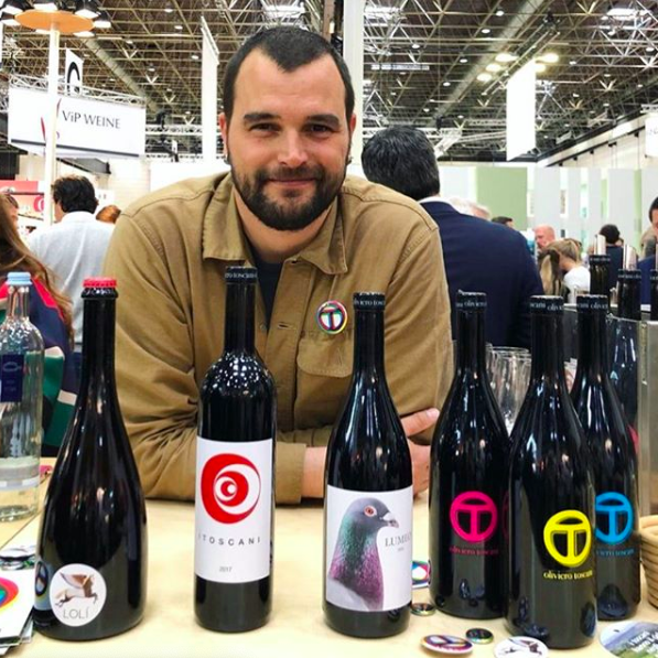 Rocco Toscani and his line-up of coastal Tuscan wines.