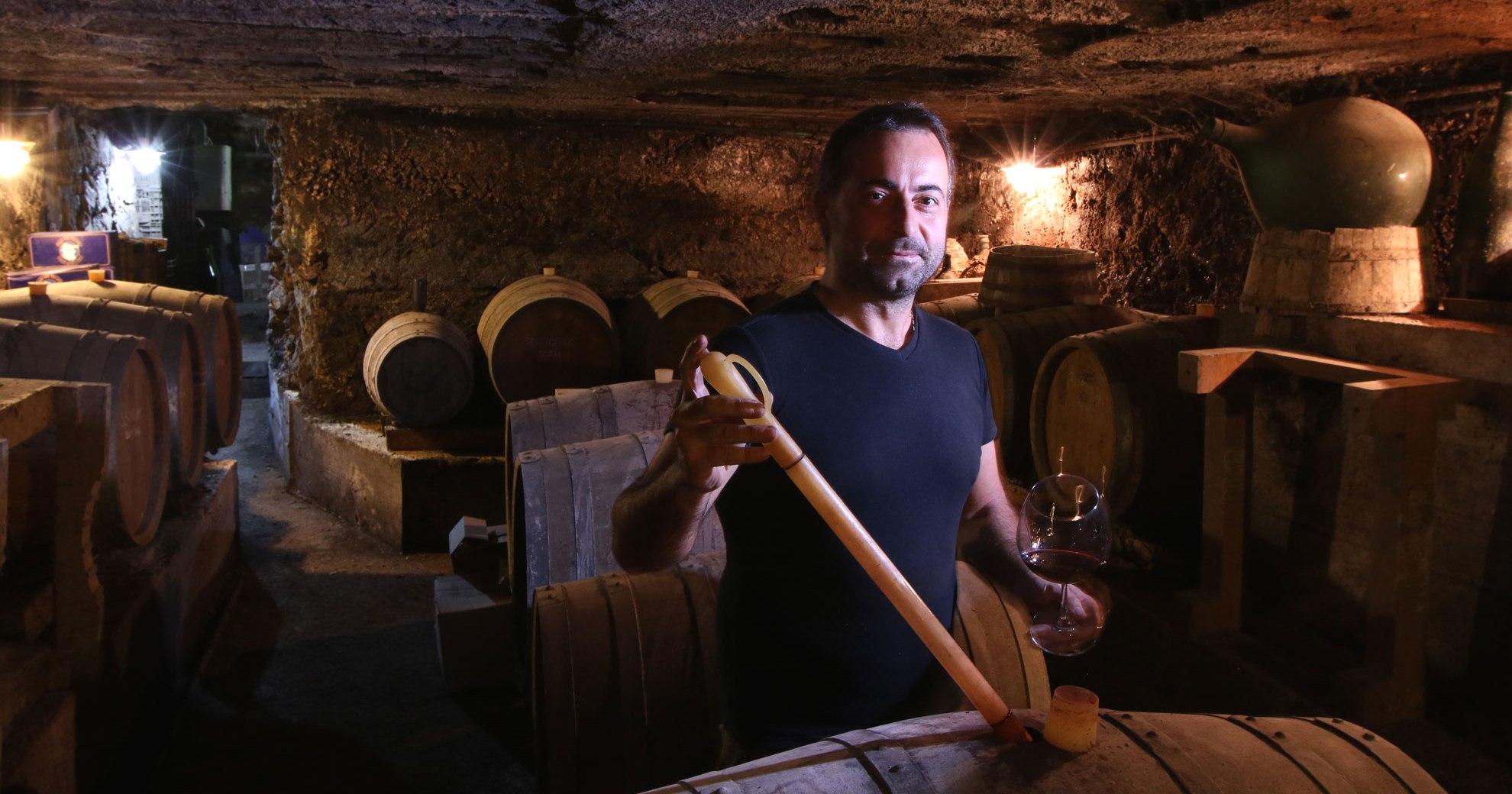 Raffaele La Mura in the cellar.