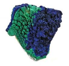 Azurite with Malachite -  Combines power of both stones. Powerful conductor of energy. Unlocks spiritual vision, strengthens abilitity to visualize, opens 3rd eye. Brings deep healing, cleansing acient blocks, miasms, or thought patterns. Overcomes muscle cramps.