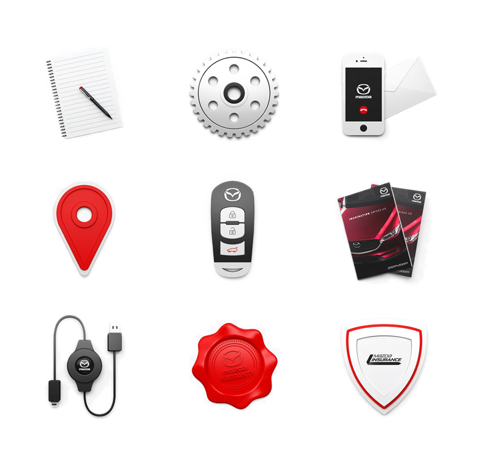 Designing a bespoke visual language - To accompany the high-quality product renders that are used frequently throughout the site, we created a set of 3D skeuomorphic icons to represent the key sections of the website - such as Build a Mazda, Find a Dealer, & MyMazda.