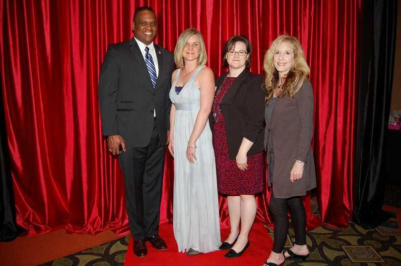 Left to Right: National PTA President Otha Thornton, Lowrie PTA President Chelsea King Martin, Oregon PTA President Susan Zundel, WLWV School Board Member Betty Reynolds