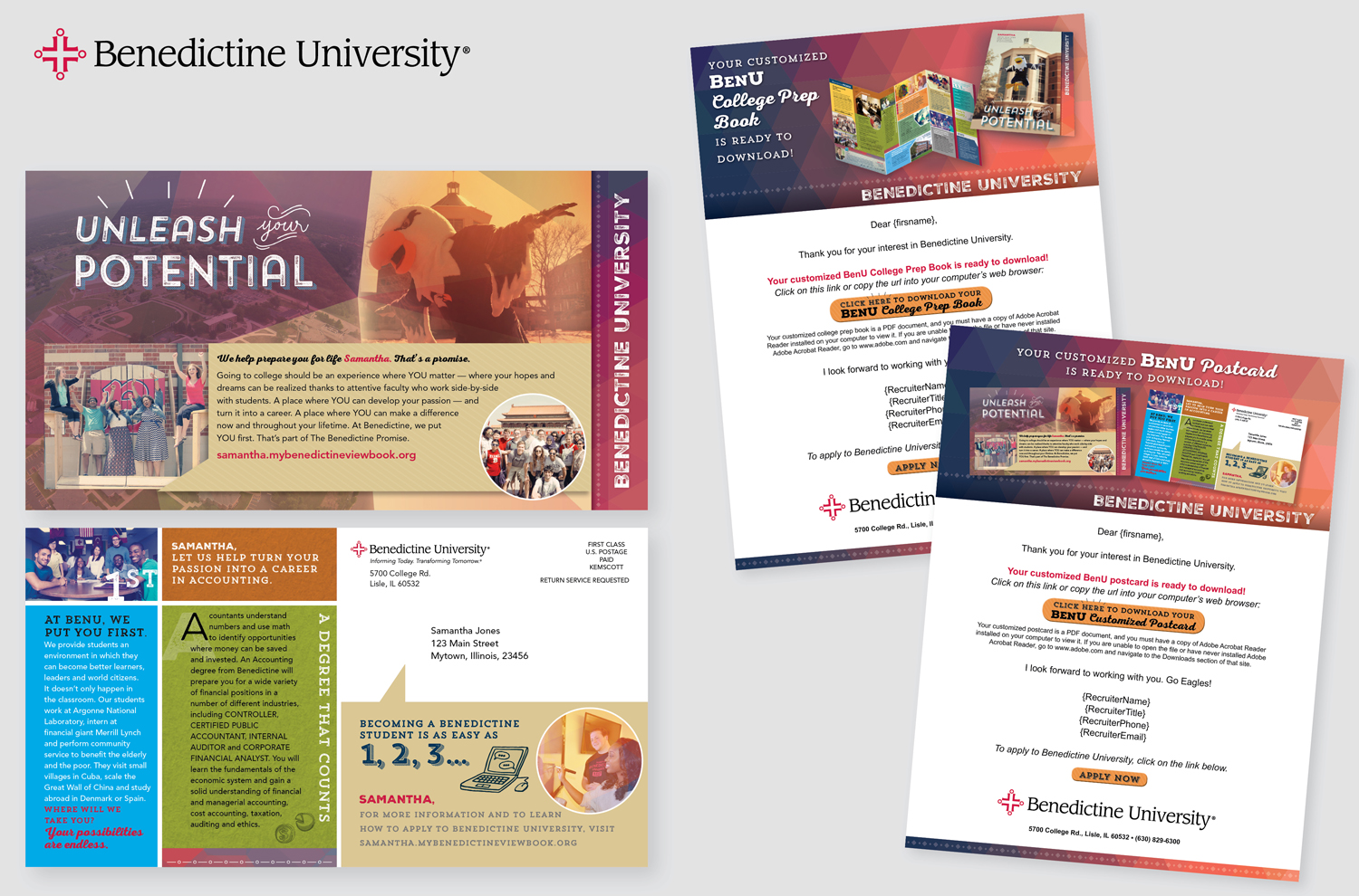 VARIABLE POSTCARD AND ELECTRONIC COMMUNICATION FOR BENEDICTINE UNIVERSITY