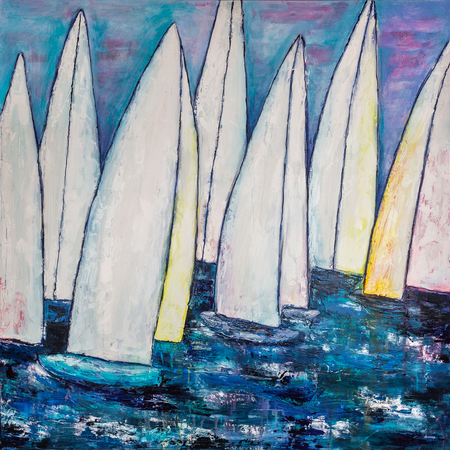 "Regatta, 48""x48"", acrylic and oil pastel on canvas"