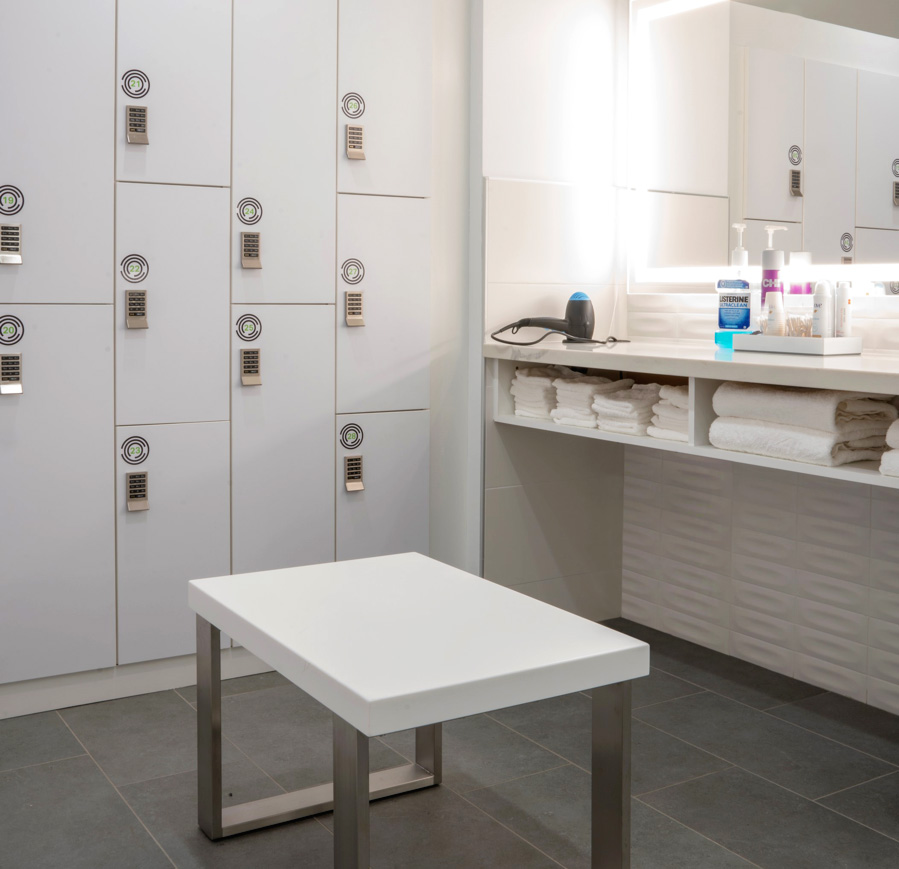 treat yourself - Yes, we have fully stocked men's and women's locker rooms, each with two soothing showers and spa-like amenities including blow-dry bars and grooming essentials. We also offer keyless lockers to store your belongings securely.