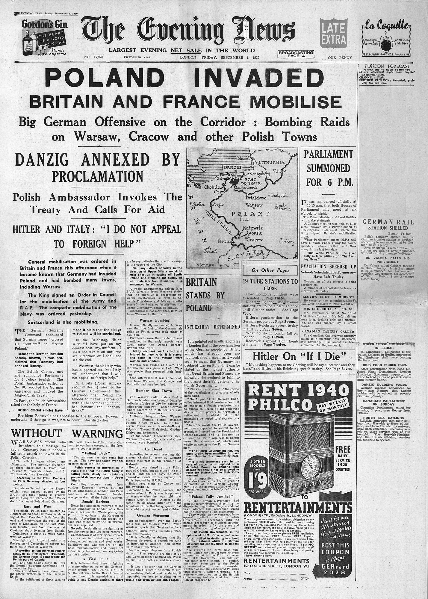 Front page of The Evening News, 1st September 1939 (click to enlarge)