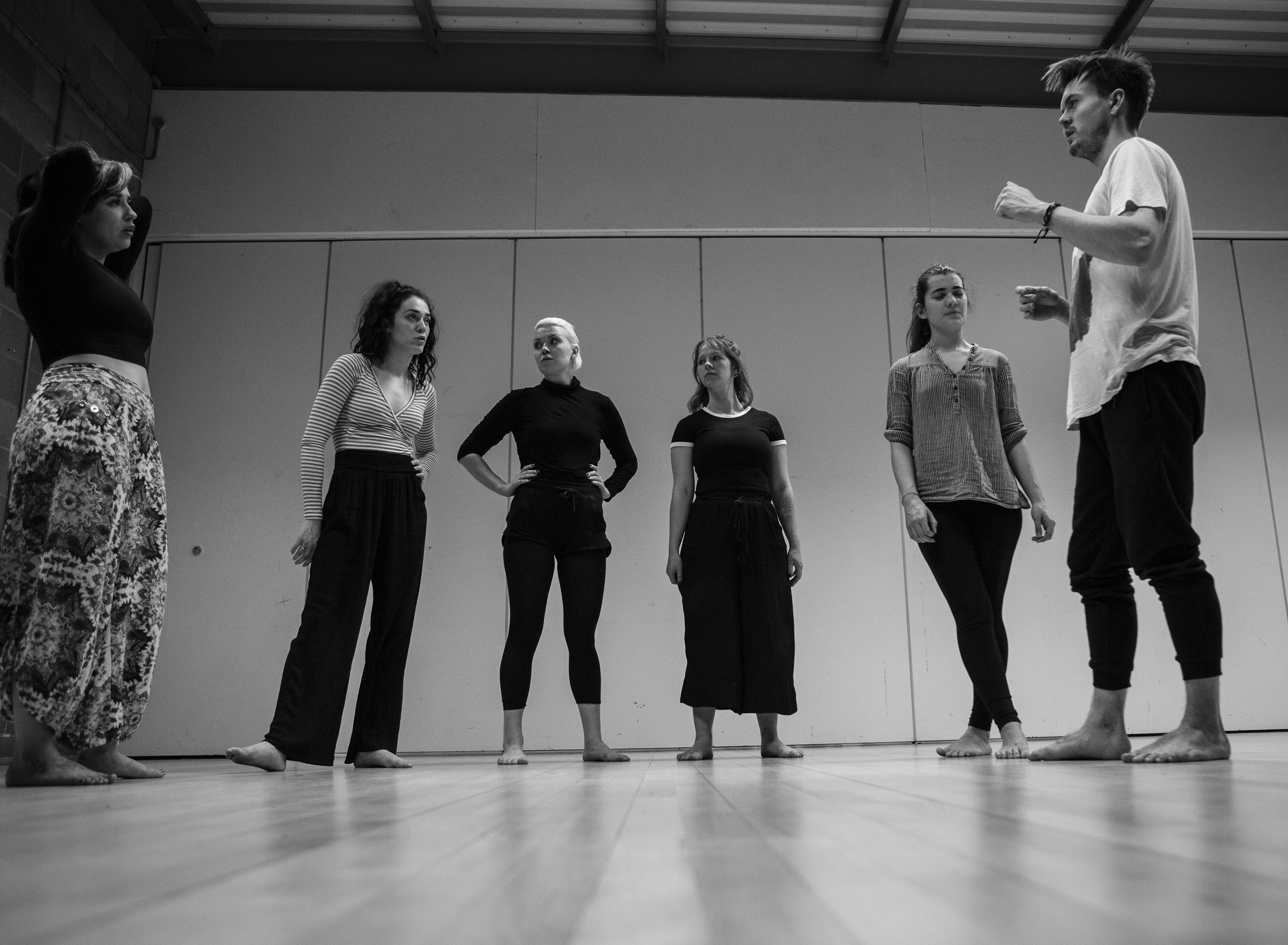 A previous theatre workshop in London with director Johan Bark (to the far right).