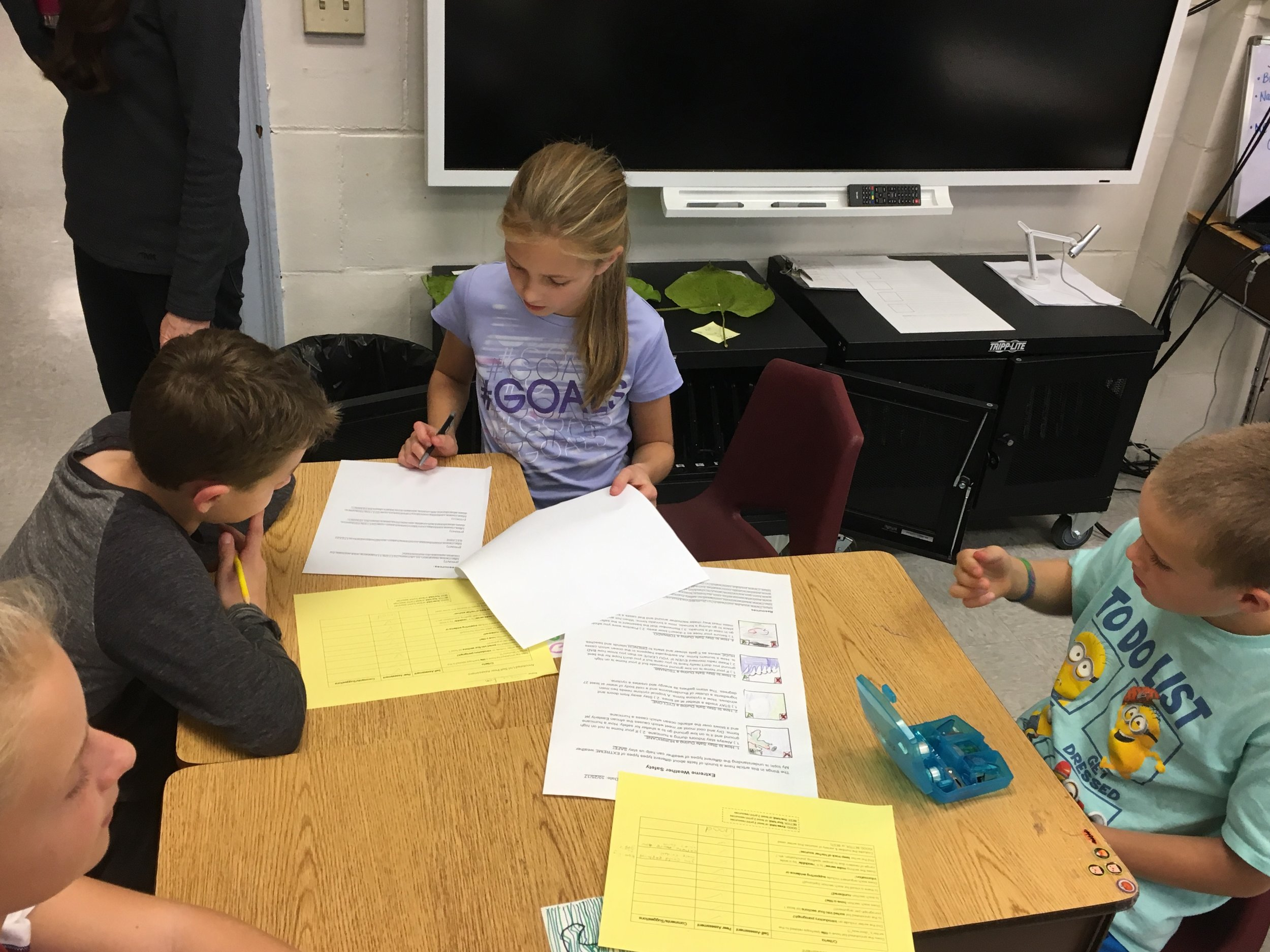 Students from a neighboring class offer feedback on students' annotated lists.