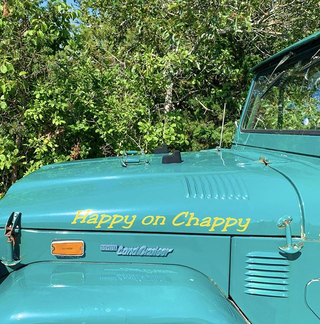 Walking around the neighborhood and we see this on a Jeep: HAPPY ON CHAPPY! #ChappyHappy #HappyonChappy