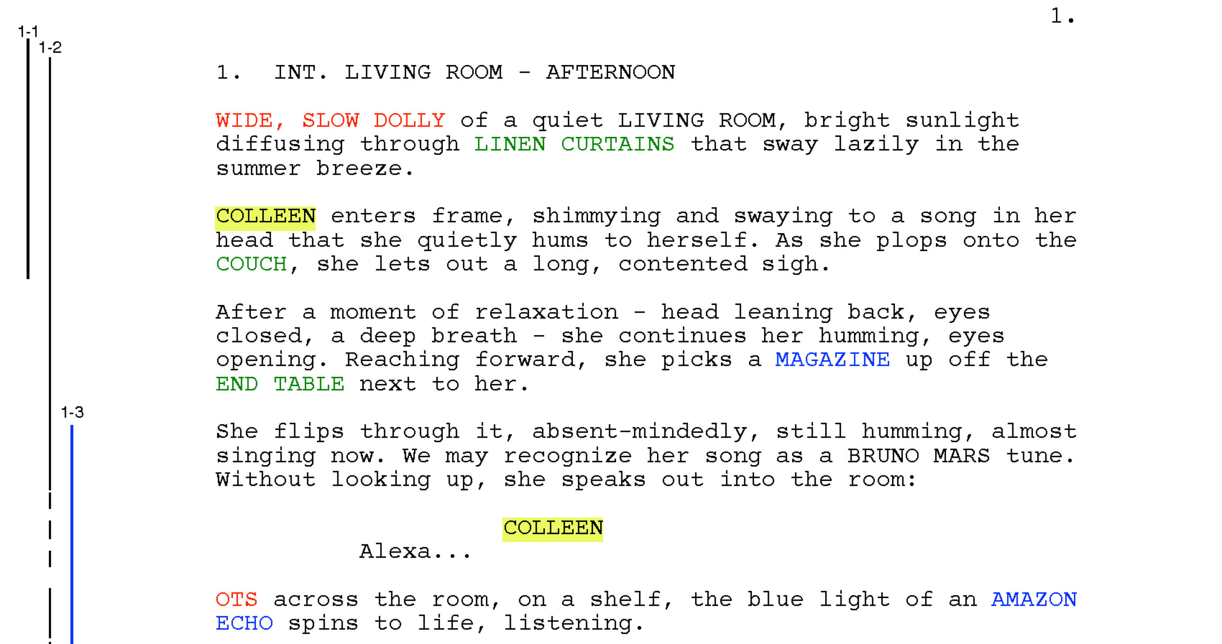 SHOOTING SCRIPT - The full shooting script, including camera notes, color-coded breakdowns and shot-lines corresponding to our shot list (below). Scrivener was the writing/formatting software that was used, and all the color-coding and shot-lining was done in a basic PDF mark-up program.