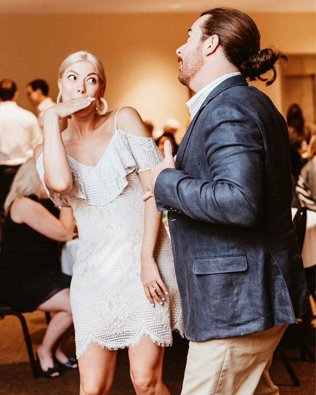 "Speaking of love languages, another one of mine is dancing. Specifically at weddings. Specifically like an idiot. Specifically with this fine specimen.  We take ""dance like no ones watching"" very seriously. Even if an entire room of humans is literally awkwardly staring at you the whole time. So, I guess we dance like everyone's watching..? 🤷🏼‍♀️ All I know is I love him and he sure can dominate a dance floor like a true champion 😂🕺🏻."