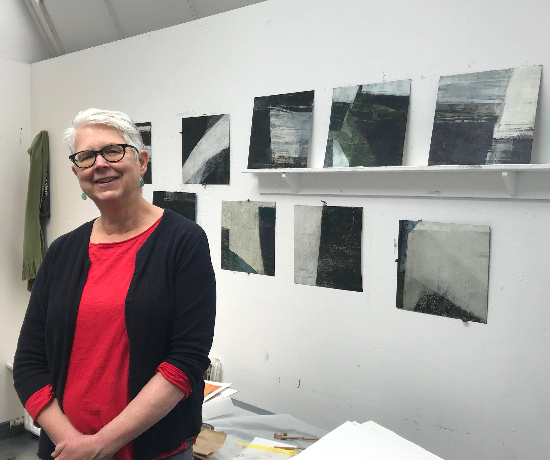 In my Ballinglen studio with paintings from the Squarings series.