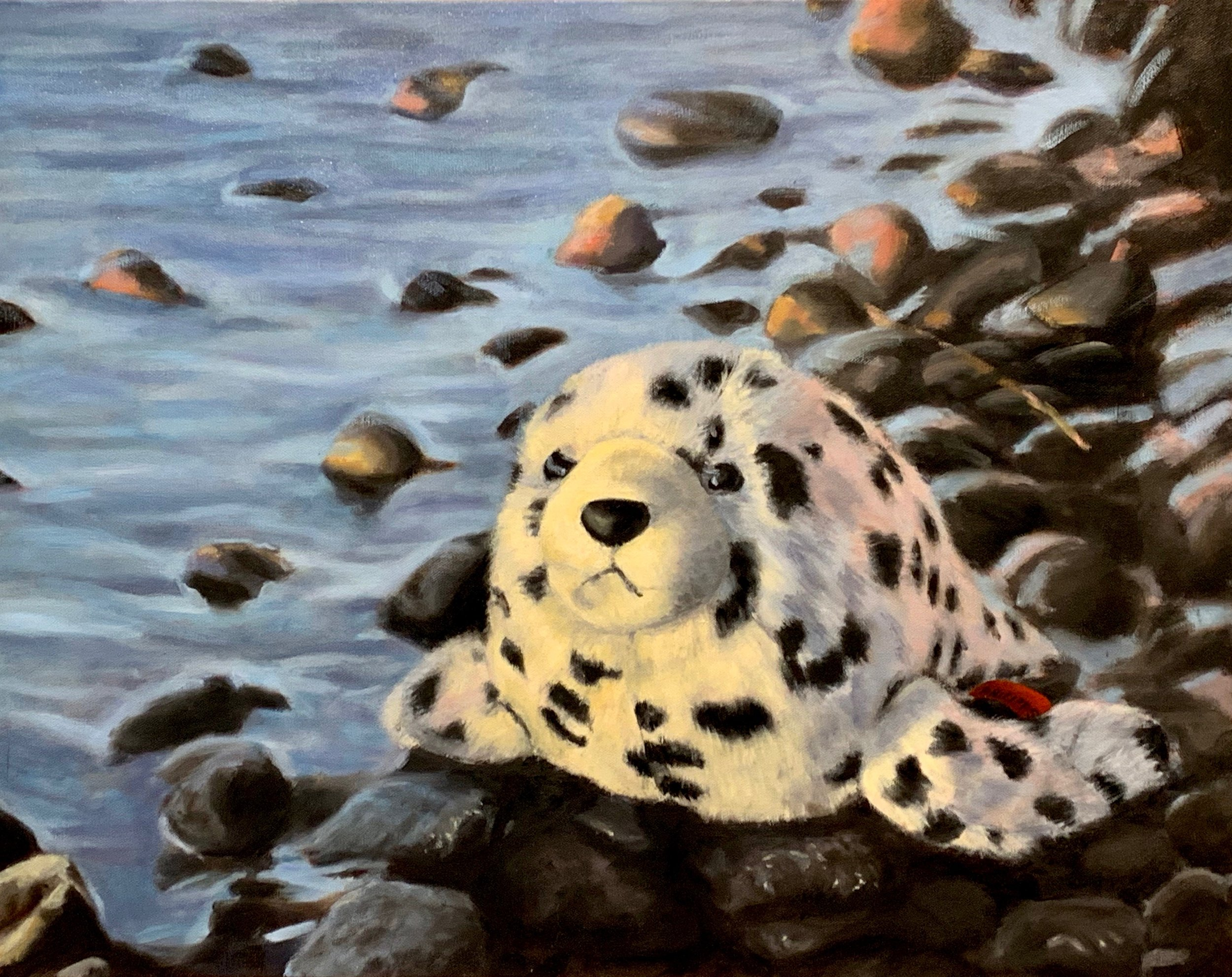 """Last Call: Harbor Seal"", Oil on Gallery Wrapped Canvas, copyright Lisa Philipps, 2019."