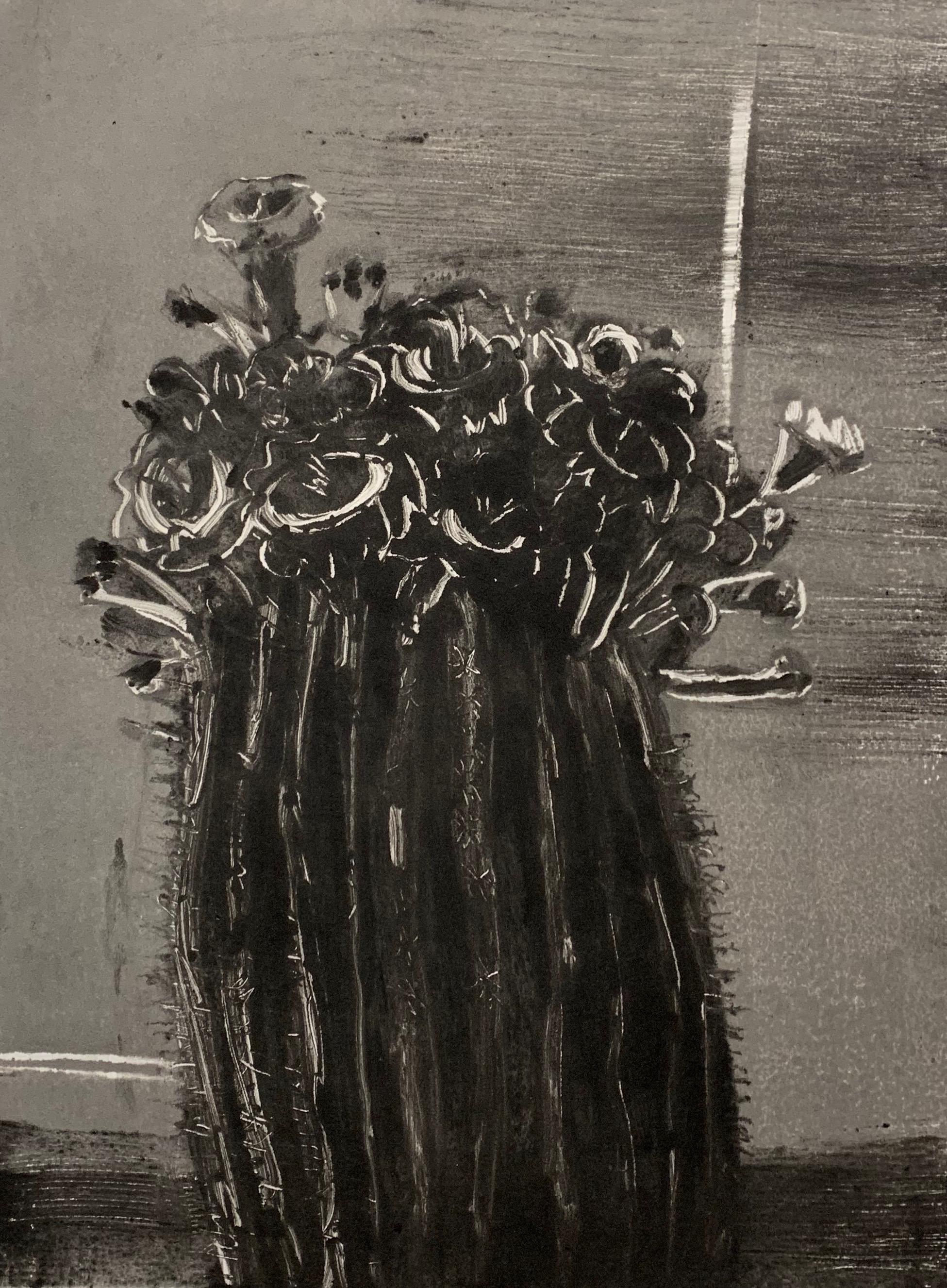 """Saguaro Cactus"", Monoprint, 10"" x 14"", 2019."