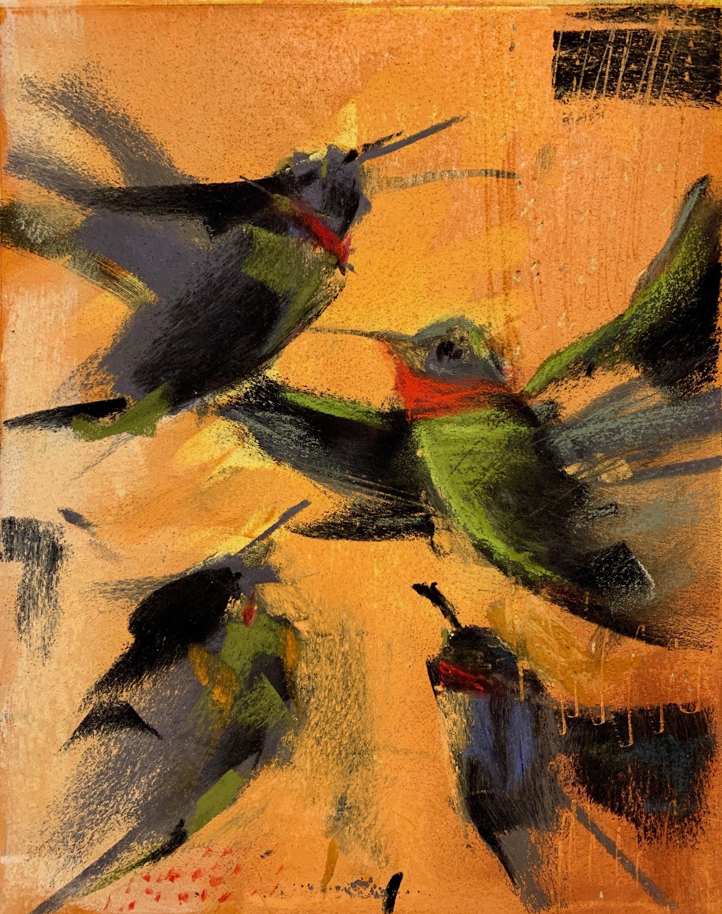 """Hummingbird Dance"", Monoprint and Pastel, 10"" x 14"", 2019."