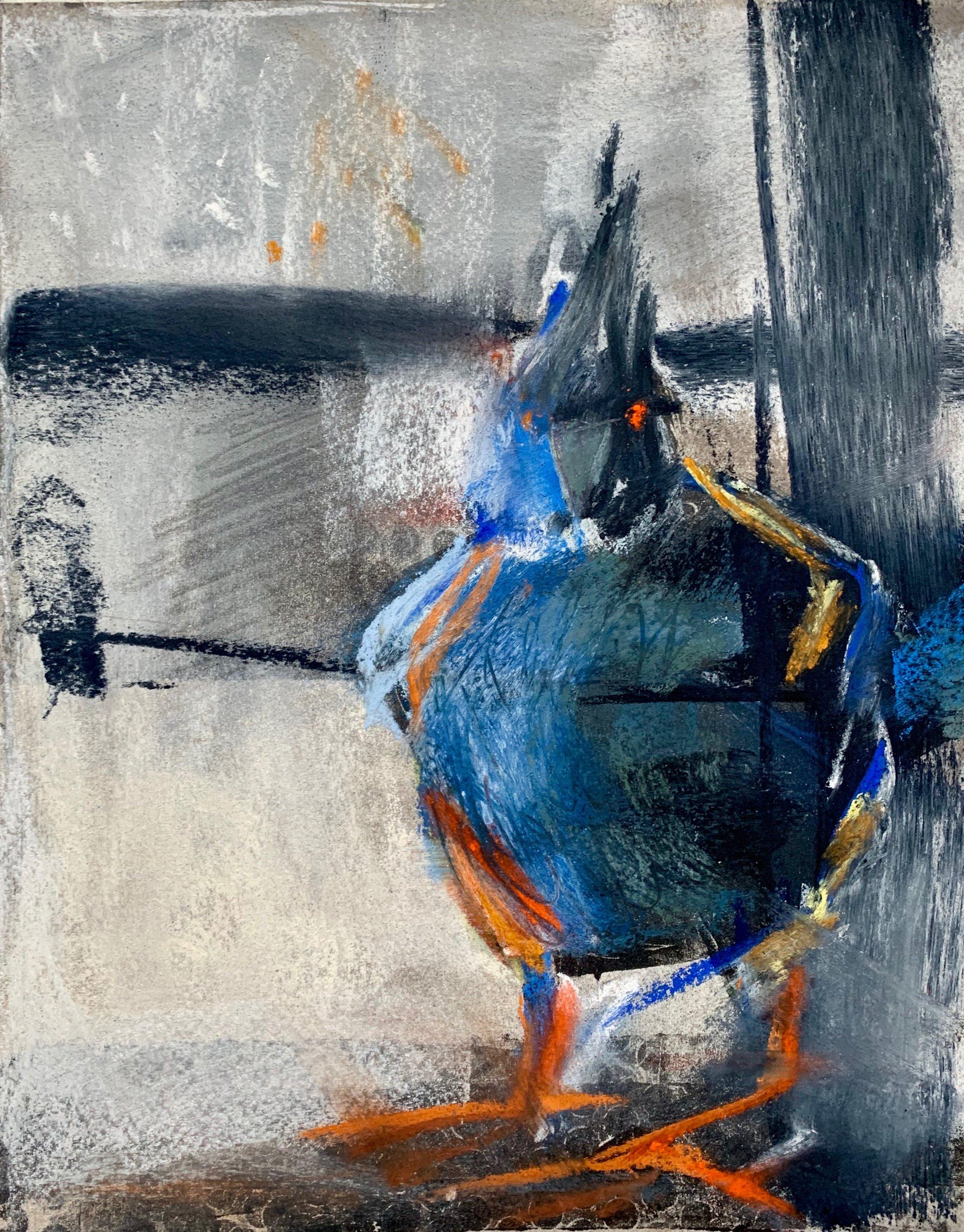"""Stellar's Jay"", Monoprint and Pastel, 2019."