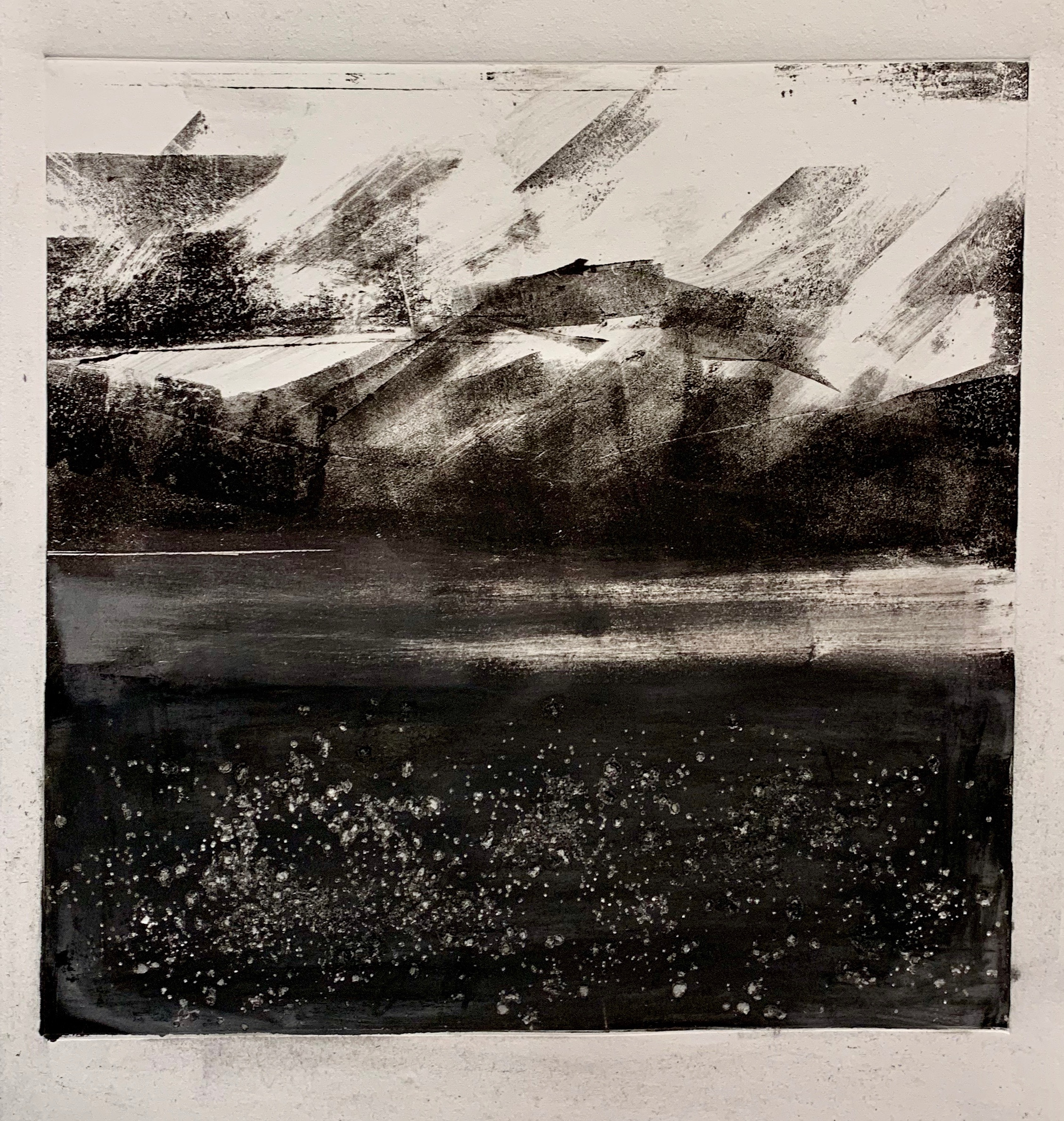 """""""Mount Rainer"""", Monoprint, 14"""" x 14"""", 2019."""
