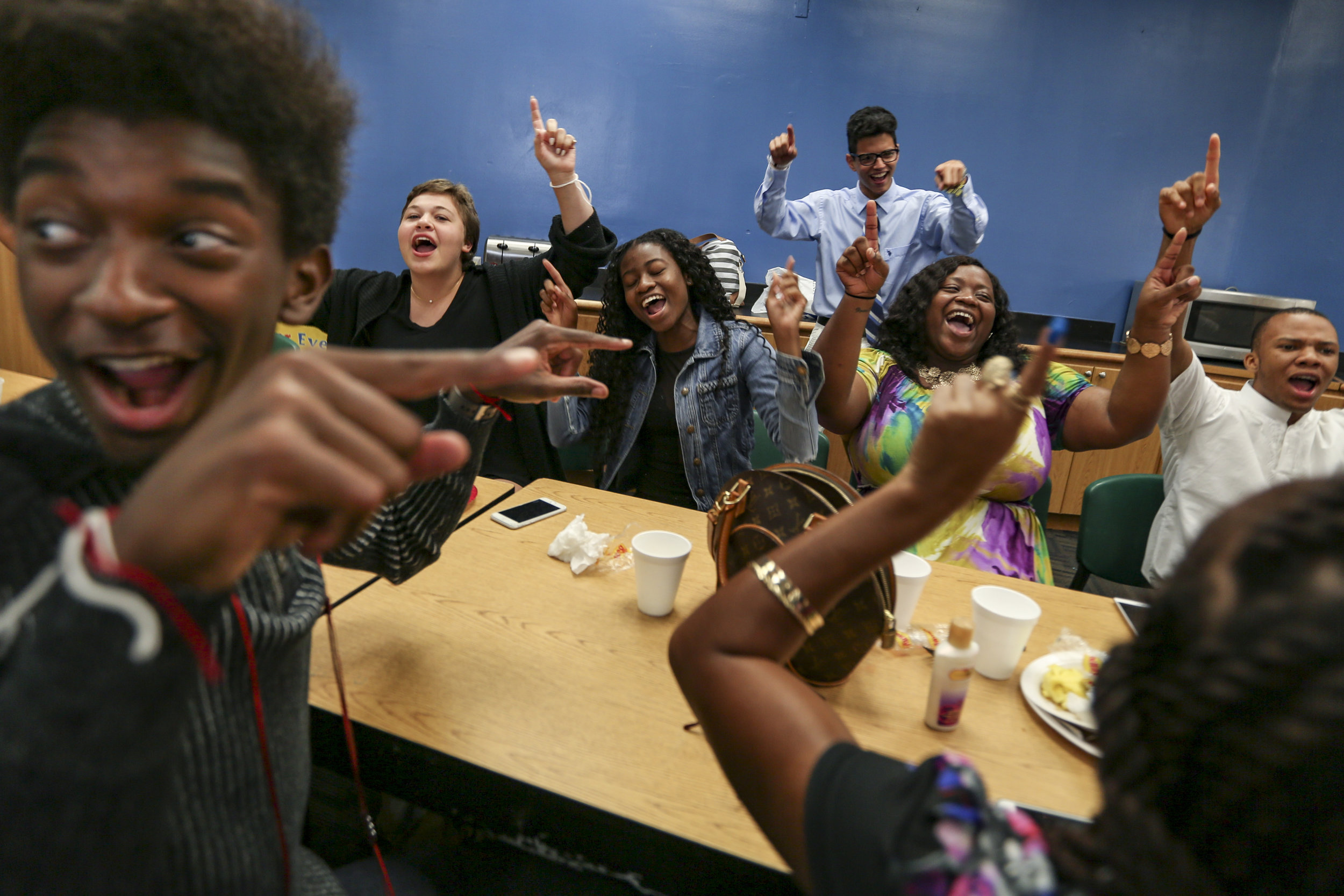 Ori Evans, 16, far left, performs an energizer with his classmates before attending a Breakthrough Miami Education Panel at Ransom Everglades Middle School in Coconut Grove on Wednesday, August 4, 2016. The panel is designed to introduce teaching fellows to possible career pathways in the field of education.