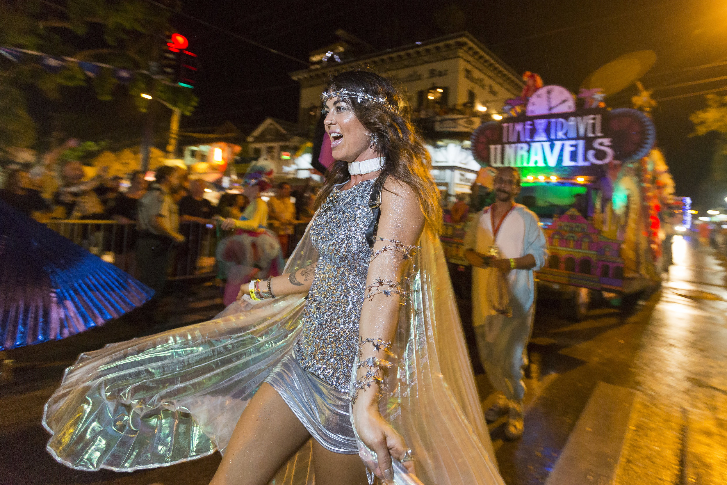 Participants partake in the 2017 Fantasy Fest parade as they make their way down Duval Street in Key West on Saturday, Oct. 28, 2017.