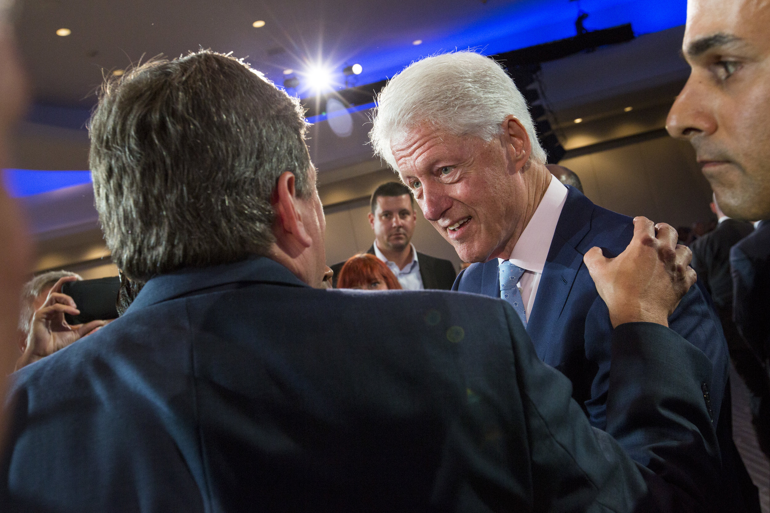 Former President Bill Clinton greets guests after speaking at a City Livability Luncheon during the United States Conference of Mayors at the Fontainebleau Hotel in Miami Beach on Saturday, June 24, 2017