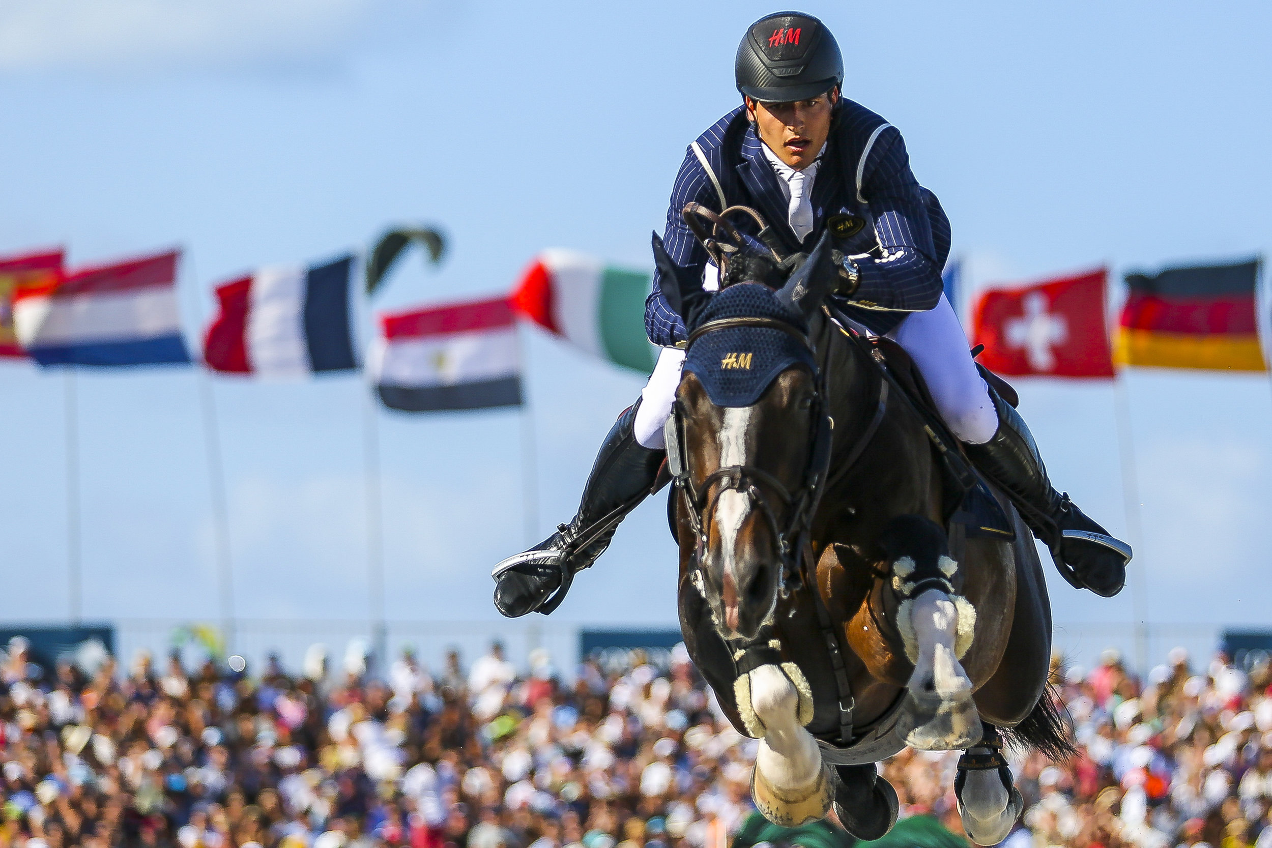 Nicola Philippaerts competes during the Longines Global Champions Tour Grand Prix of Miami Beach 2017 on Saturday, April 15, 2017.