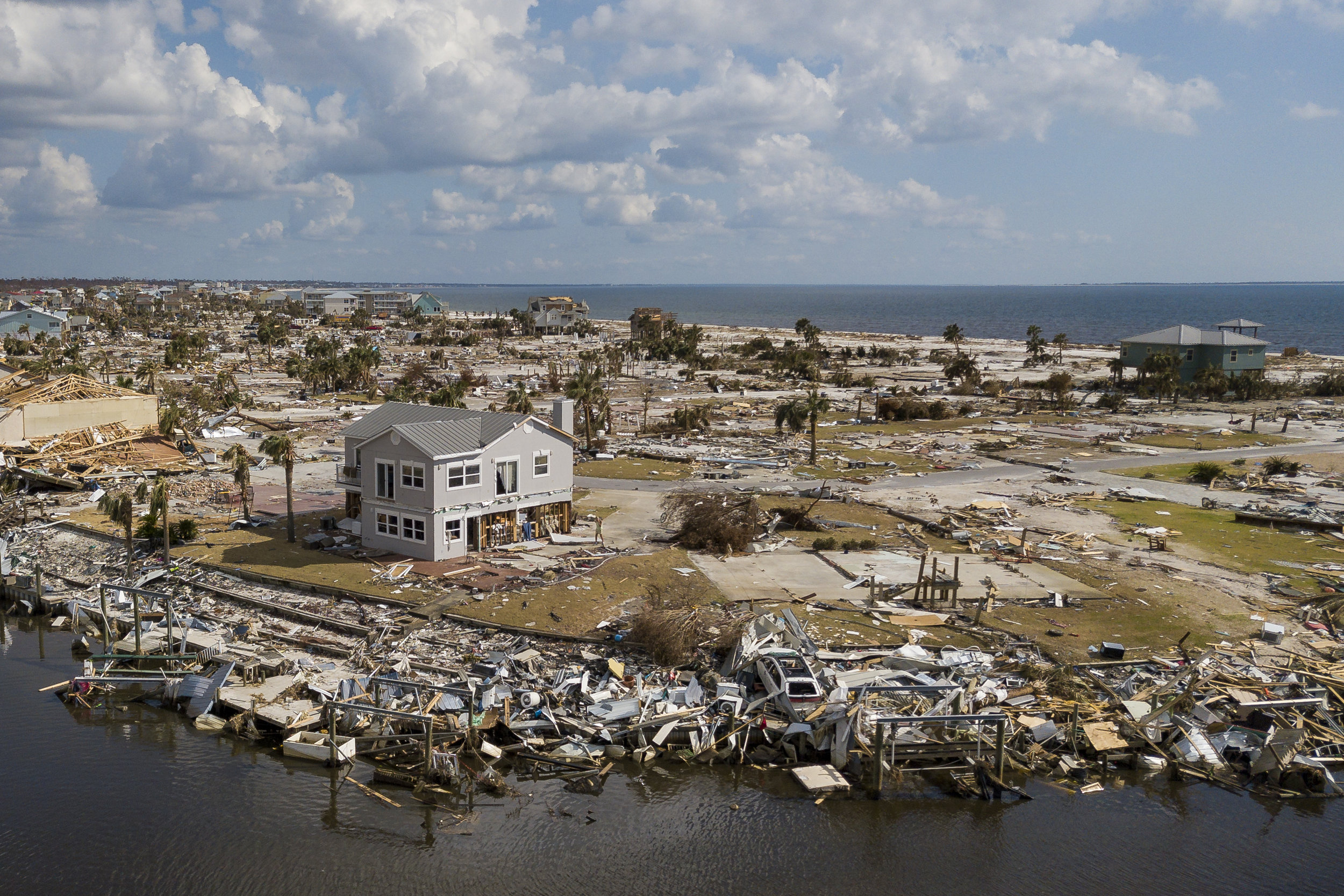 Aerial view of rubble and structural damage in Mexico Beach, Florida on Friday, October, 19, 2018. Hurricane Michael devastated the Florida Panhandle leaving tens of thousands without food, power or shelter.