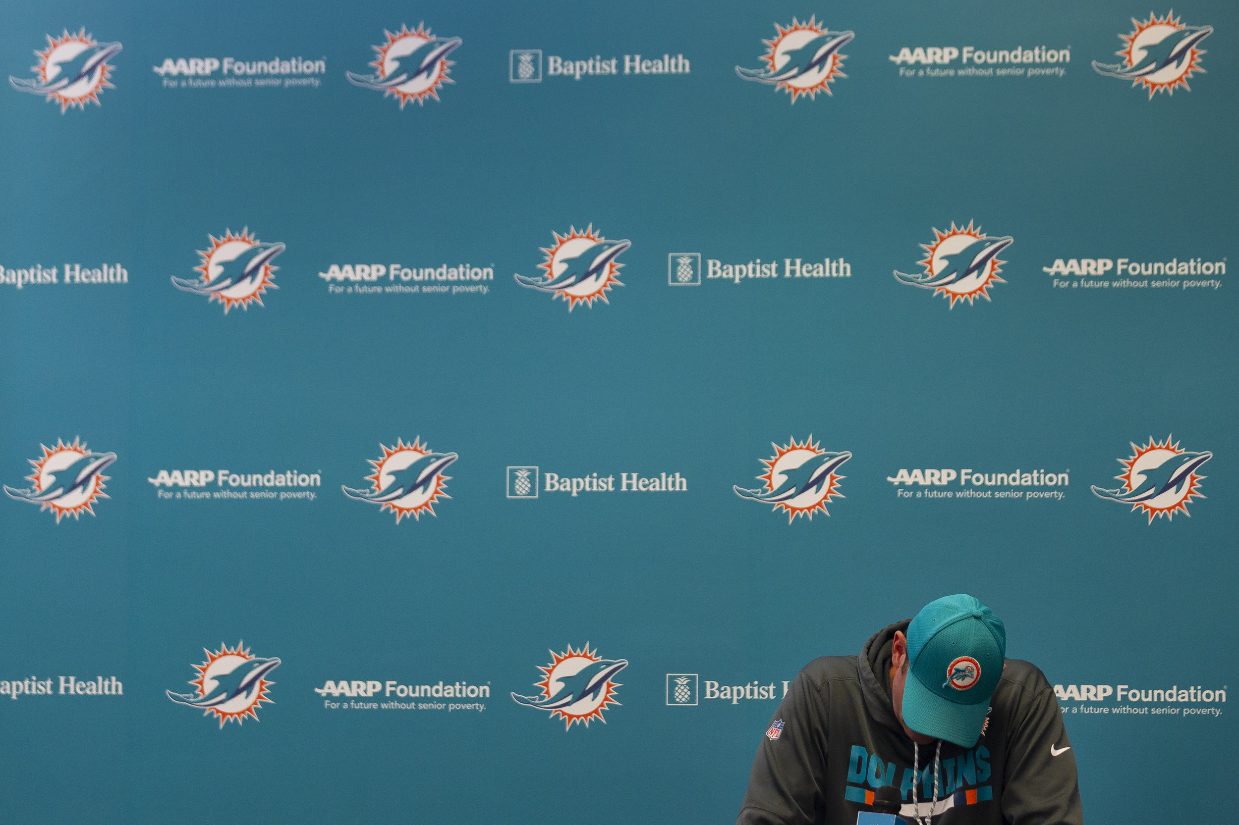 Miami Dolphins head coach Adam Gase talks to the media about his team's loss to the New England Patriots at the Baptist Health Training Facility at Nova Southeastern University in Davie on Monday, October 1, 2018.