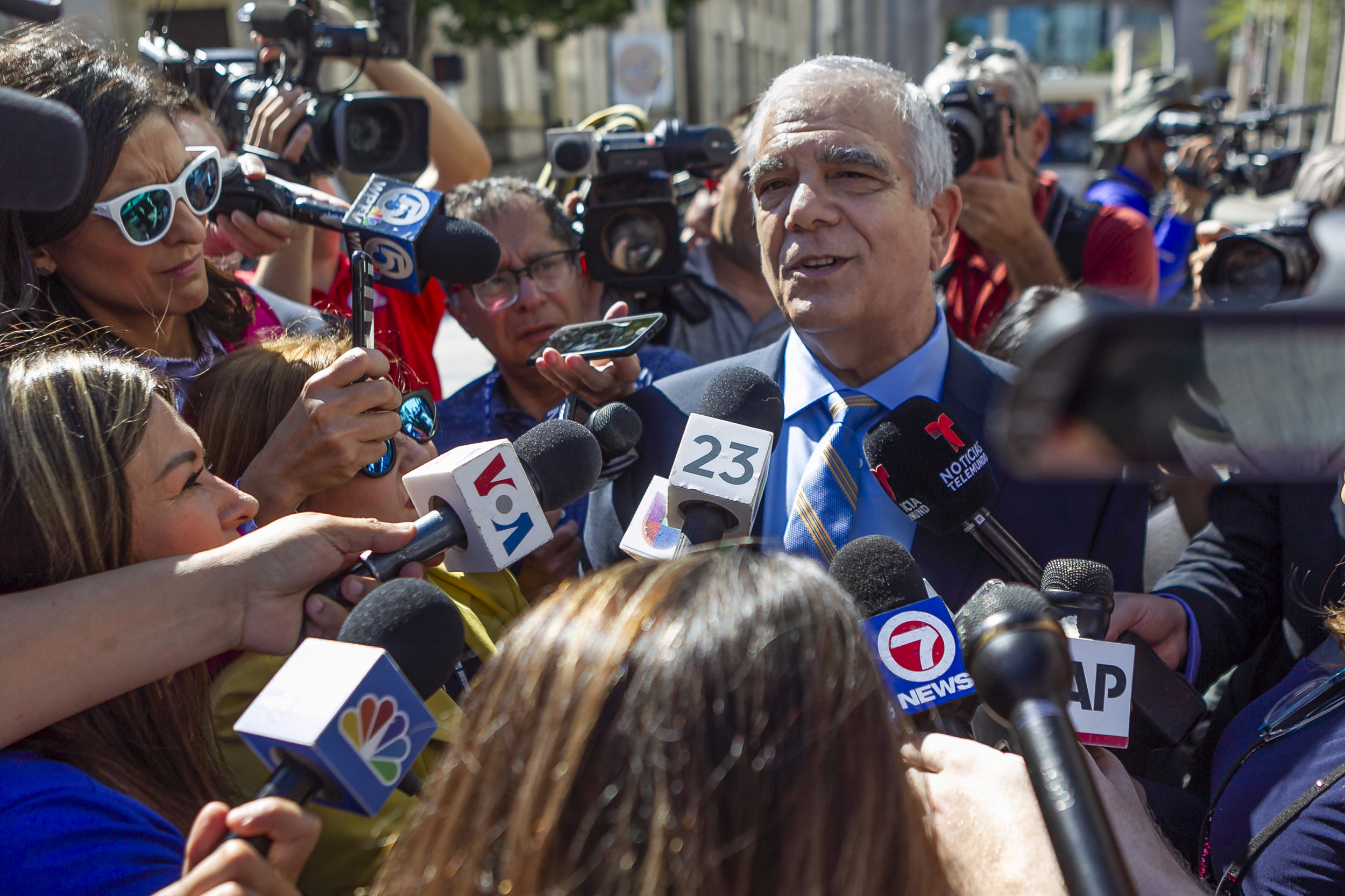 Attorney Daniel Aaronson talks to the media after attending a hearing for his client, Cesar Sayoc, at the Federal District Court for the Southern District of Florida in downtown Miami on Monday, October 29, 2018.