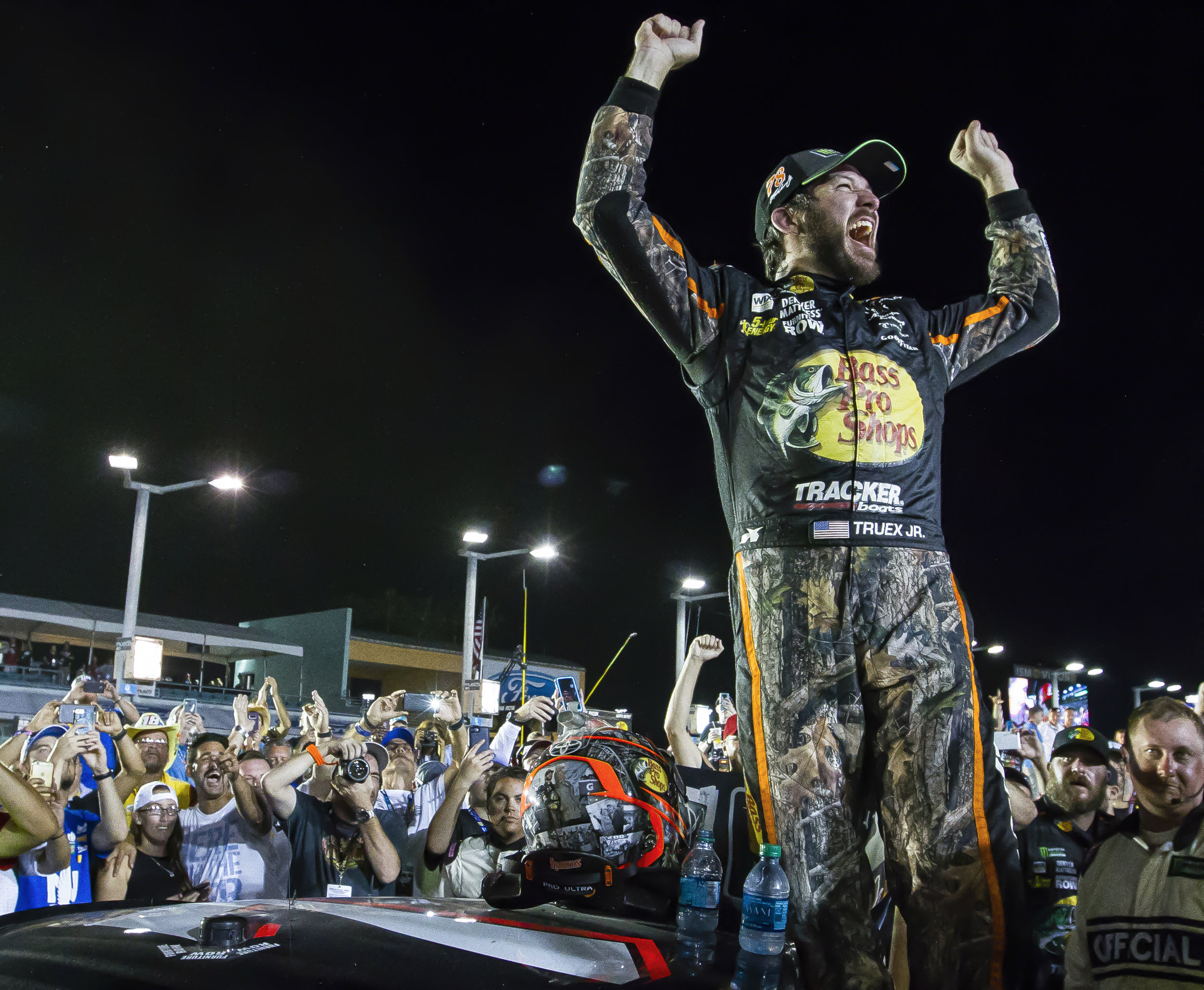 Martin Truex Jr. #78 reacts after winning the Monster Energy NASCAR Cup Series and the Ford EcoBoost 400 Championships at the Homestead-Miami Speedway on Sunday, Nov. 19, 2017.
