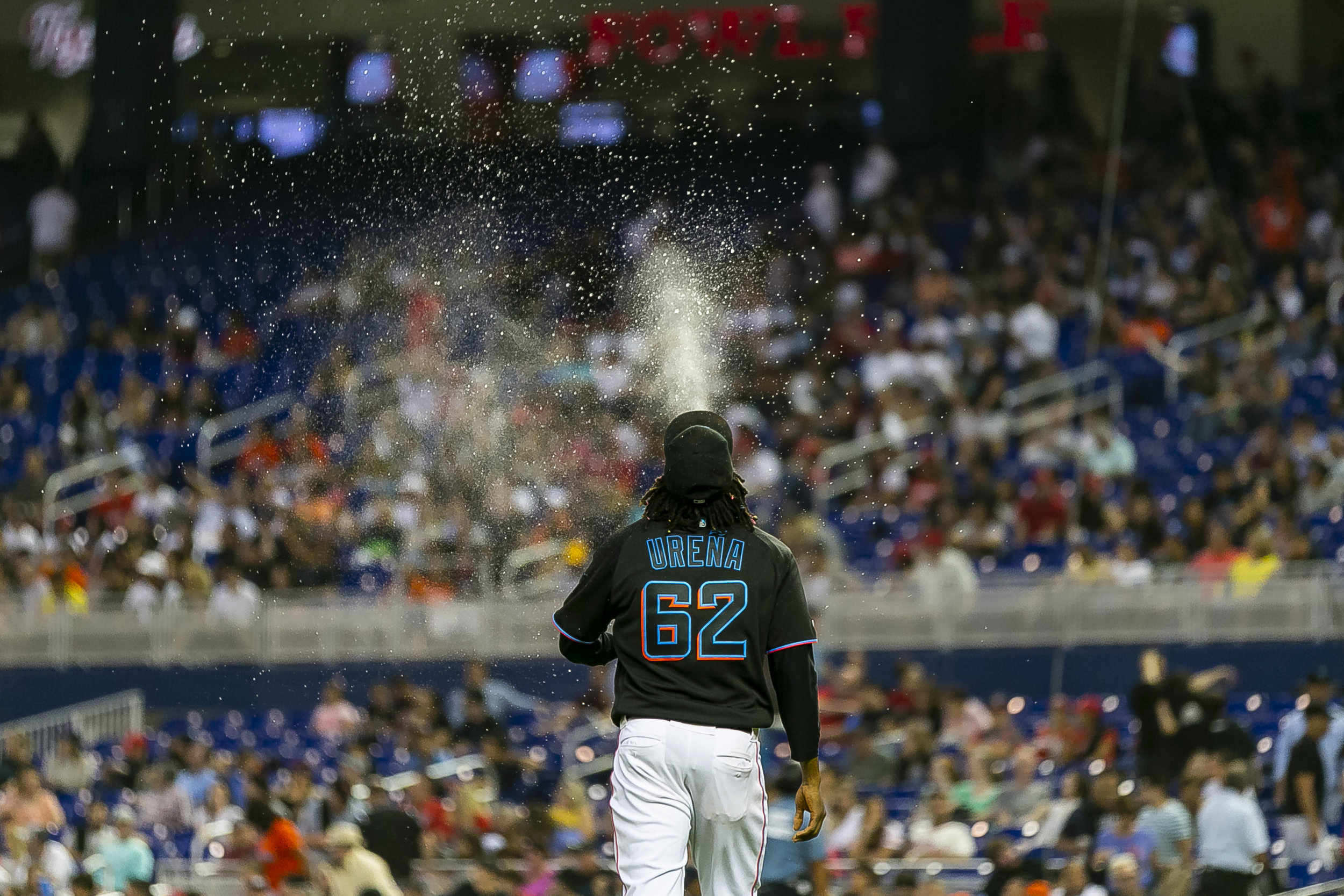 Miami Marlins starting pitcher Jose Urena (62) walks toward the pitching mound in the sixth inning of a baseball game against the Washington Nationals at Marlins Park in Miami on Saturday, April 20, 2019.