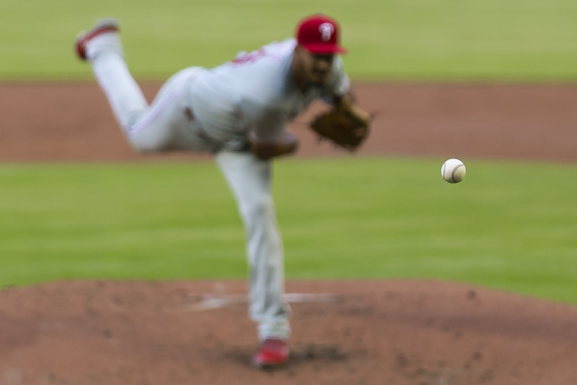 Philadelphia Phillies starting pitcher Zach Eflin (56) pitches against the Miami Marlins in the first inning of a baseball game at Marlins Park in Miami on Saturday, April 13, 2019.