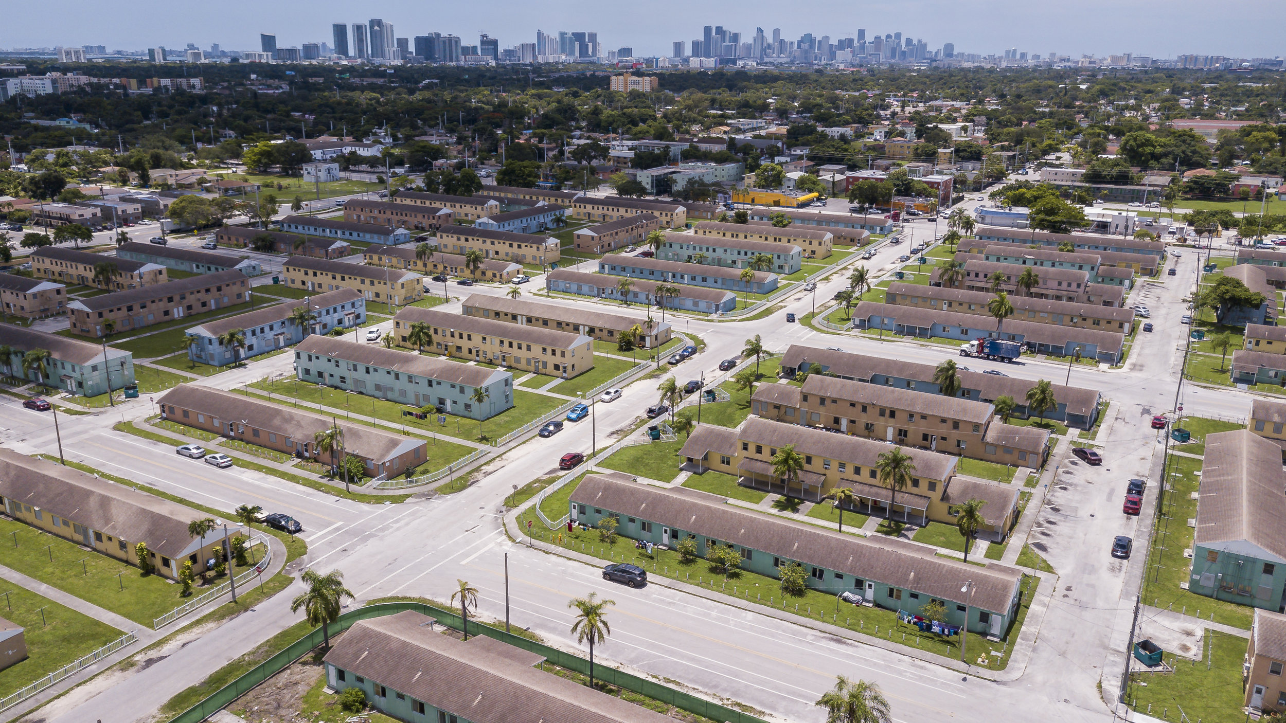 Aerial view of Liberty Square in Miami, Florida on Monday, July 1, 2019. Liberty Square is one of the oldest public housing developments in the U.S. and is being redeveloped. It will eventually include 1,455 new units, from public housing to market-rate.