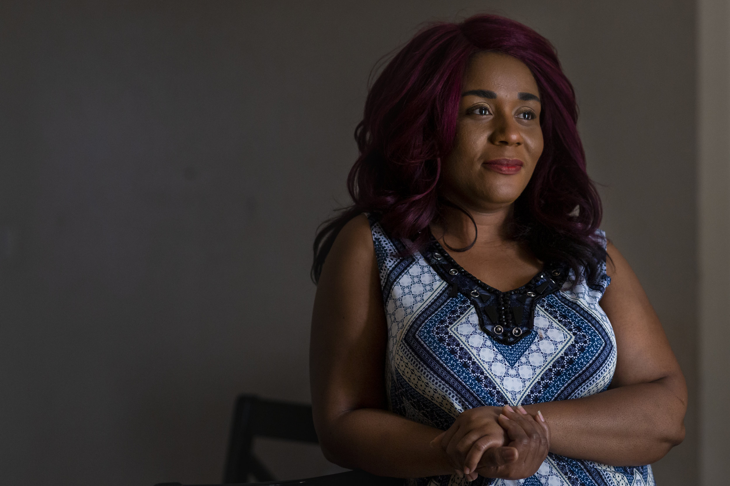 Antonese Dorsin, 37, at her home in Little Havana, Florida on Thursday, May 9, 2019. Dorsin, a mother of six, became homeless after losing her job seven years ago. Now, she has a job and is living in an affordable housing building with her family.