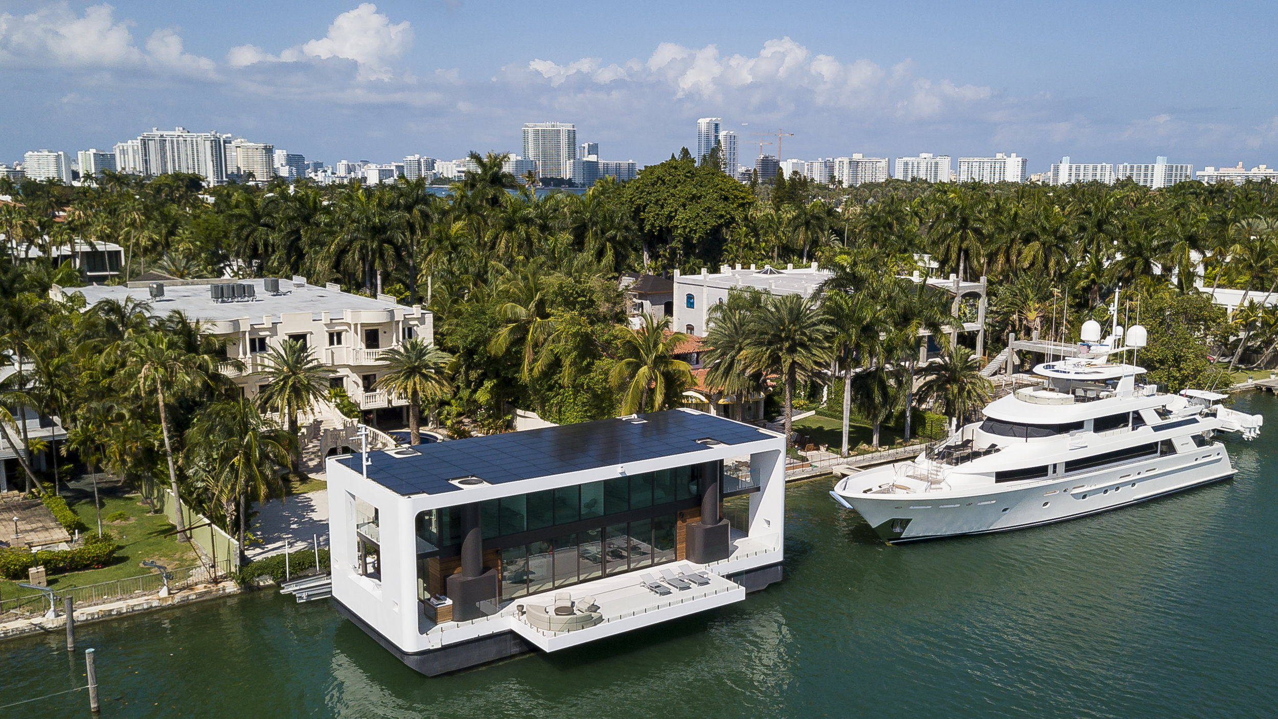 Aerial view of the Arkup houseboat, a green-energy luxury floating home that can adapt to sea rise, as it docks off Palm Island near Miami Beach on Saturday, April 27, 2019. The floating house has solar panels, impact resistant windows and can withstand hurricane winds of up to 155 miles per hour.