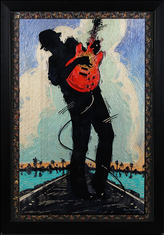 Blues poster, painted wood carving for auction