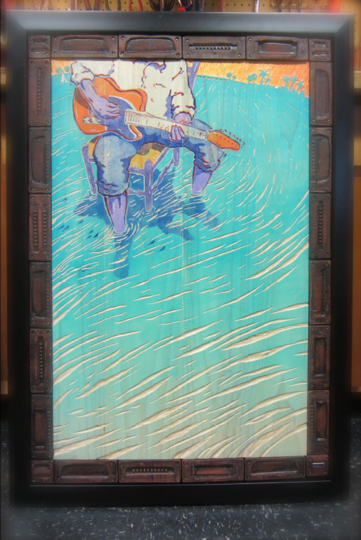 Blues poster, painted wood carving for auction.