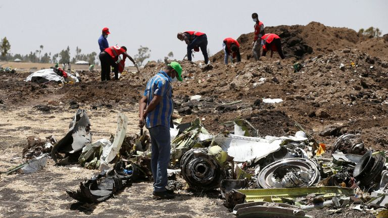 The aftermath of a  Boeing 737 Max  crash that took place in Ethiopia.