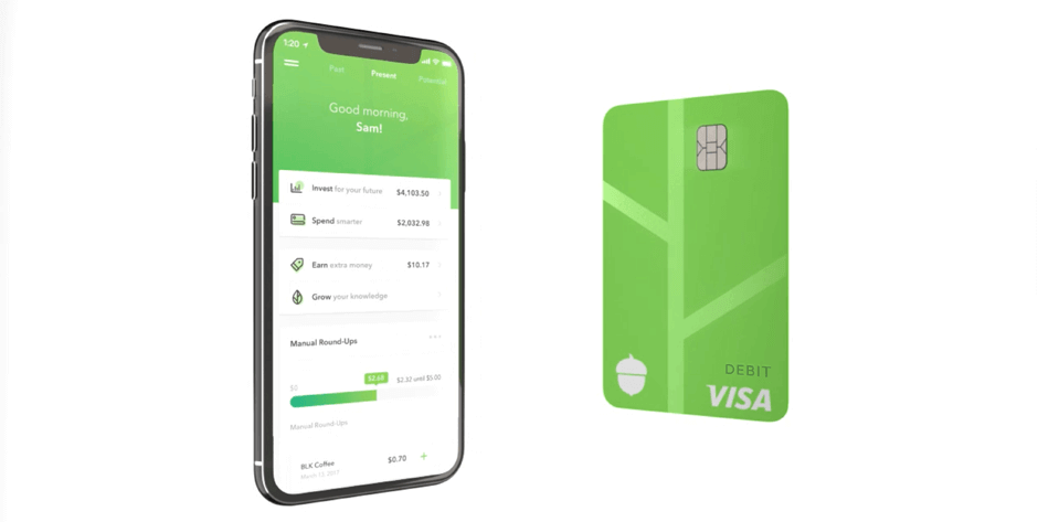 The Acorn app (iPhone) along with the debit card for its checking account (a $3 monthly fee).