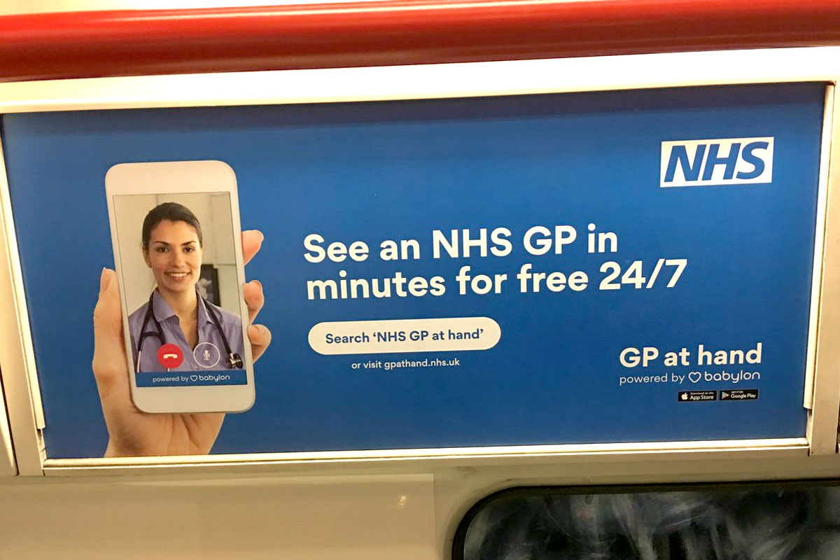 A public promotion of the GP at Hand application on a train service, the app is now officially endorsed by the NHS. Credit: Pulse