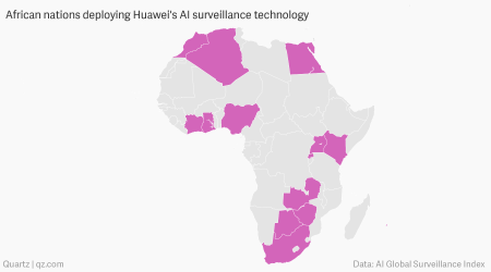 Graphical Respresentation of extent of Huawei's initiatives in Africa, Source: Huawei web