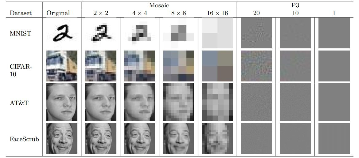 These are example images from each dataset. The leftmost image is the original image. arXiv preprint server manufactures identifiable images from pixelated images.
