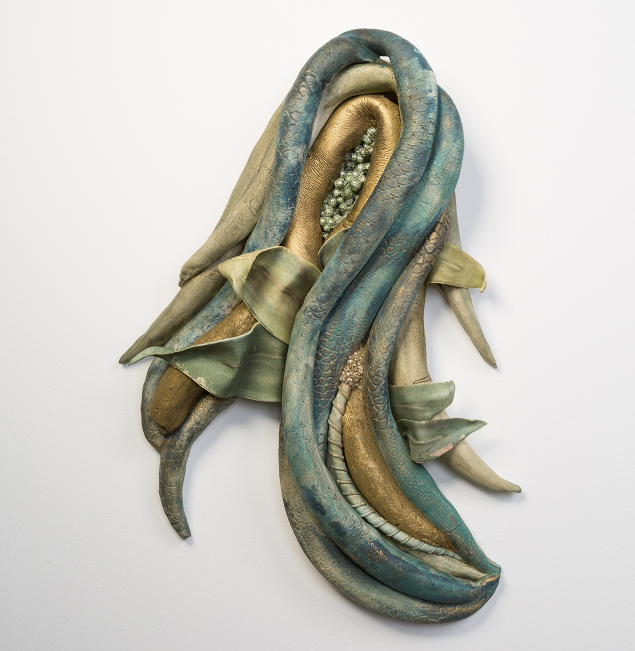 "Inseparabili   Fired Clay with Oxides, Underglaze & Mixed Media, 21"" x 16"" x 5"""