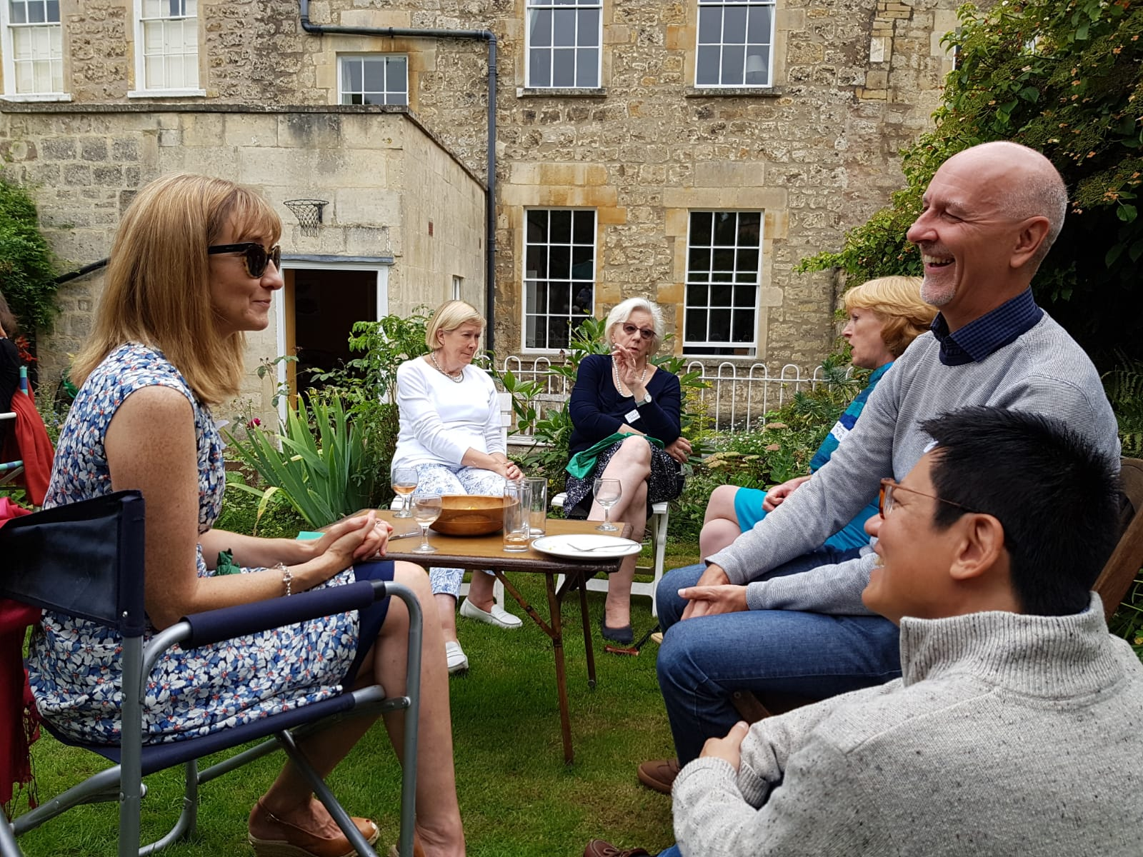 Catching up with neighbours, Summer Party 2.9.18